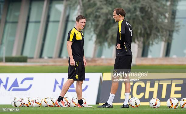 Manager Thomas Tuchel and U19 manager Hannes Wolf of Borussia Dortmund in a training session during Borussia Dortmund's training camp at Dubai Nad Al...