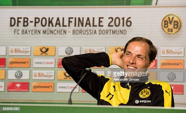 Manager Thomas Tuchel of Borussia Dortmund attends a press conference prior to the DFB Cup Final 2016 match against FC Bayern Muenchen at...