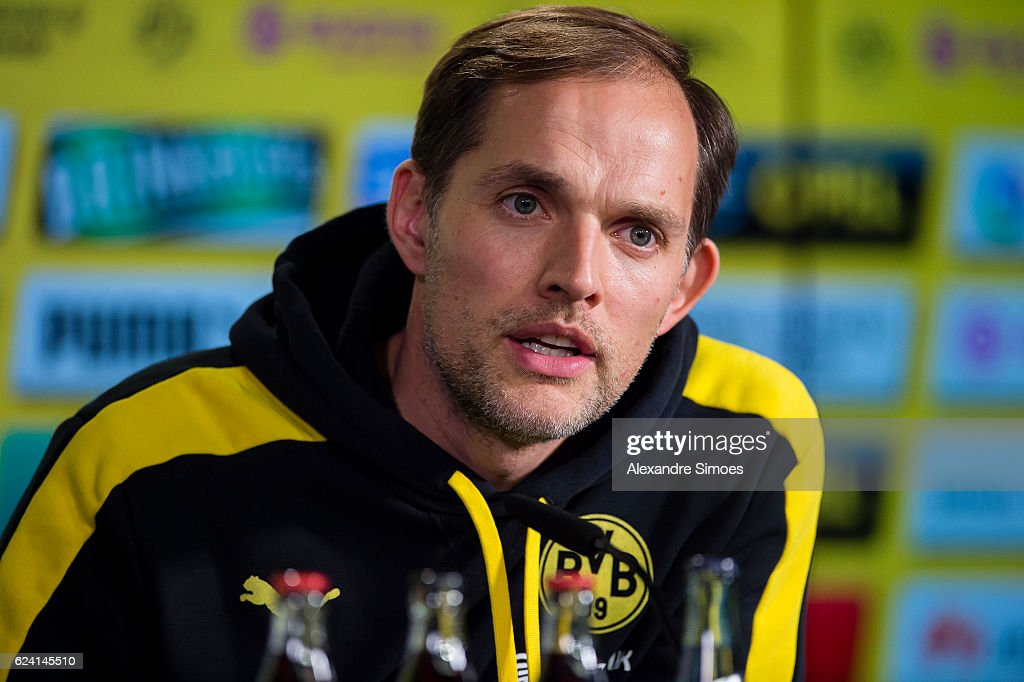 Manager Thomas Tuchel of Borussia Dortmund attends a press conference prior to the Bundesliga match against Bayern Muenchen on November 18, 2016 in Dortmund, Germany.