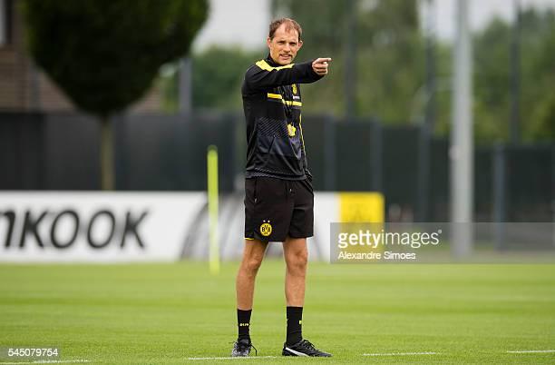 Manager Thomas Tuchel of Borussia Dortmund during a training session on the Borussia Dortmund training ground on July 5 2016 in Dortmund Germany