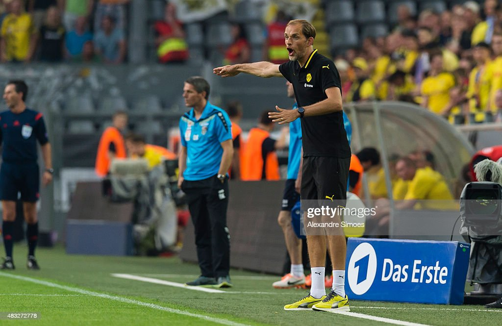 Manager Thomas Tuchel of Borussia Dortmund during the UEFA Europa League: Third Qualifying Round 2nd Leg match between Borussia Dortmund and Wolfsberg at Signal Iduna Park on August 06, 2015 in Dortmund, Germany.