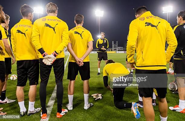 Manager Thomas Tuchel of Borussia Dortmund in a training session during Borussia Dortmund's training camp at Dubai Nad Al Sheba Sports Complex on...