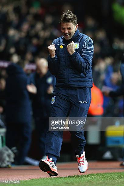 Manager Tim Sherwood of Aston Villa celebrates on the touchline after Gabriel Agbonlahor of Aston Villa scored the opening goal during the Barclays...