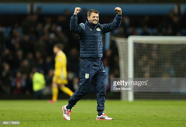 Manager Tim Sherwood of Aston Villa celebrates the 2-1 victory on the pitch after the Barclays Premier League match between Aston Villa and West...
