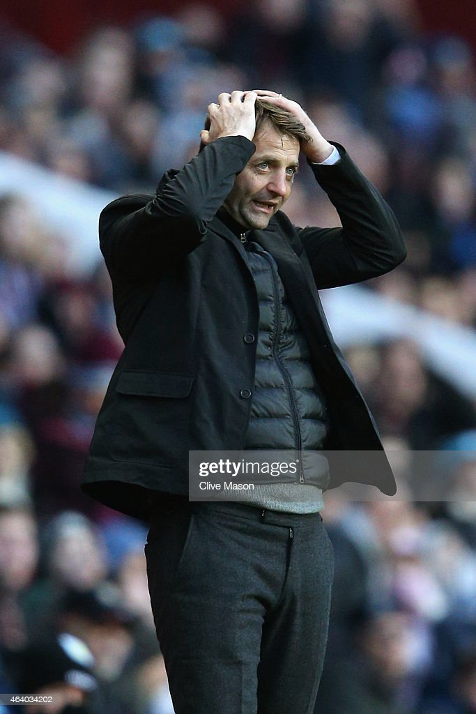 Manager Tim Sherwood of Aston Villa reacts during the Barclays Premier League match between Aston Villa and Stoke City at Villa Park on February 21, 2015 in Birmingham, England.