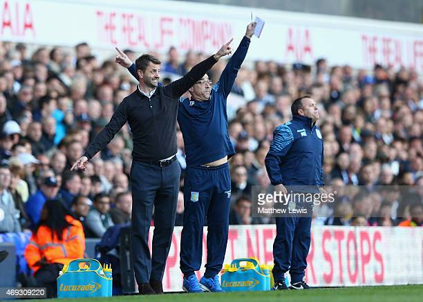 Manager Tim Sherwood of Aston Villa reacts during the Barclays Premier League match between Tottenham Hotspur and Aston Villa at White Hart Lane on...