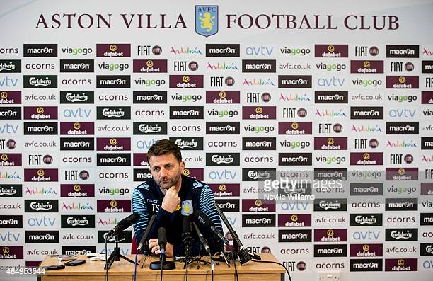 Manager Tim Sherwood of Aston Villa talks during a press conference at Bodymoor Heath training ground on March 02, 2015 in Birmingham, England.