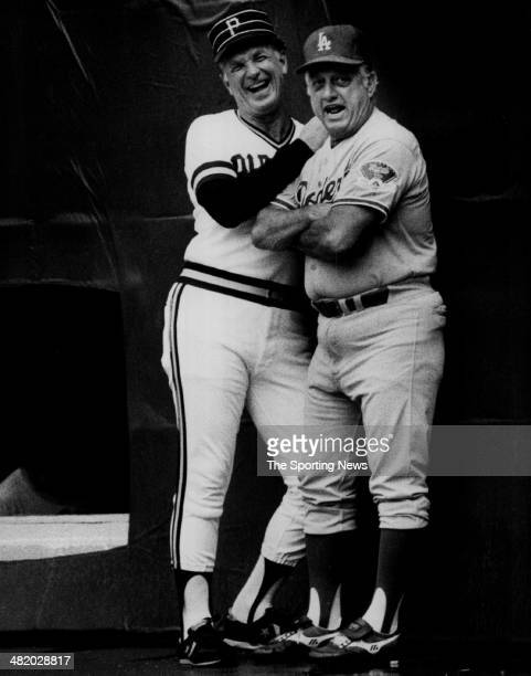 Manager Tommy Lasorda of the Los Angeles Dodgers jokes with Pirate's manager Chuck Tanner circa 1980s