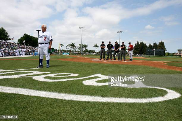 Manager Tommy Lasorda of the Los Angeles Dodgers talks to the crowd before the final game for the Dodgers in Dodgertown before taking on the Houston...