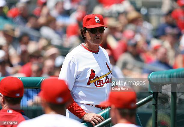 Manager Tony La Russa of the St Louis Cardinals watches his team take on the Washington Nationals at Roger Dean Stadium on March 31 2010 in Jupiter...
