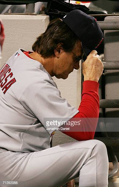 Manager Tony LaRussa of the St Louis Cardinals reacts in the dugout as the Chicago White Sox put up 20 runs in 7 innings on June 20 2006 at US...