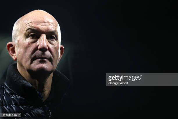 Manager Tony Pulis of Sheffield Wednesday looks on following the Sky Bet Championship match between Huddersfield Town and Sheffield Wednesday at John...