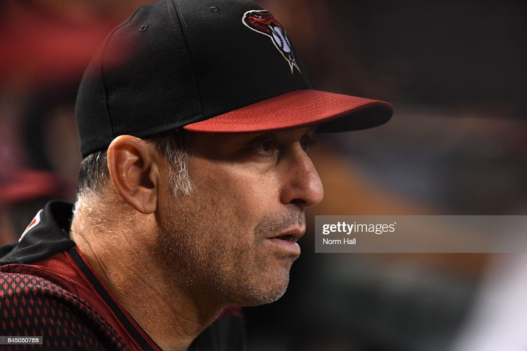 Manager Torey Lovullo #17 of the Arizona Diamondbacks looks on during the first inning against the San Diego Padres at Chase Field on September 9, 2017 in Phoenix, Arizona.