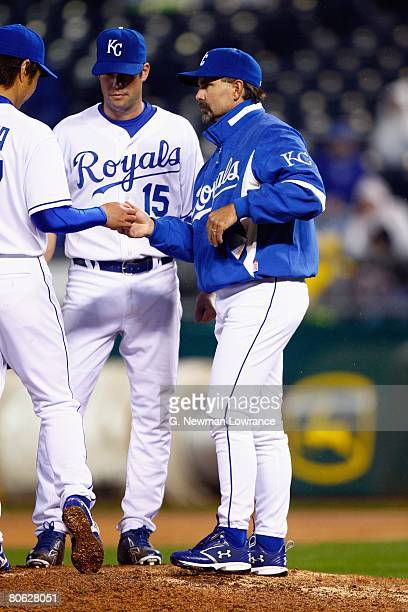 Manager Trey Hillman of the Kansas City Royals goes to the mound during the game against the New York Yankees on April 9 2008 at Kauffman Stadium in...
