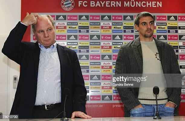 Manager Uli Hoeness and Sebastian Deisler look on during the Bayern Munich press conference at Bayern's training ground Saebener Strasse on January...