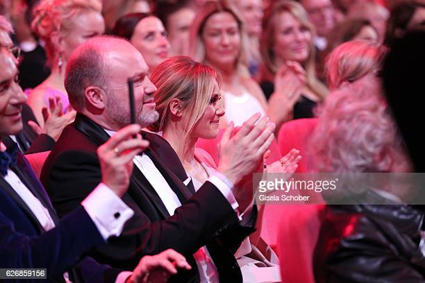 Manager Uwe Kanthak and Helene Fischer in the audience during the Bambi Awards 2016 show at Stage Theater on November 17 2016 in Berlin Germany