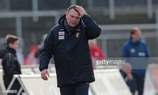 Manager Uwe Koschinat of Cologne gestures during the 3 Liga match between SC Fortuna Koeln and SV Wehen Wiesbaden at Suedstadion on February 17 2018...