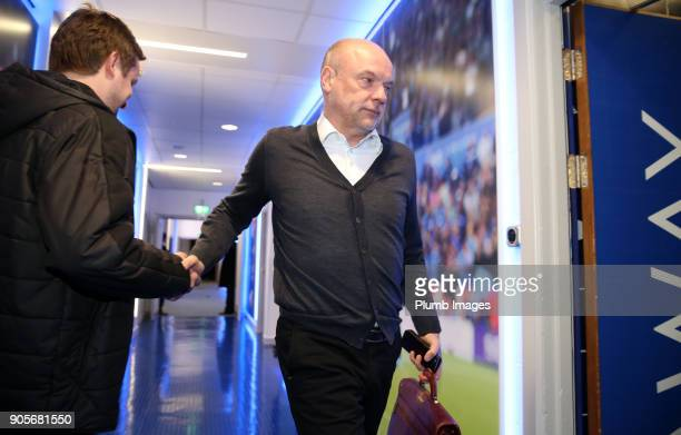 Manager Uwe Rosler of Fleetwood Town arrives at King Power Stadium ahead of The Emirates FA Cup Third Round Replay between Leicester City and...