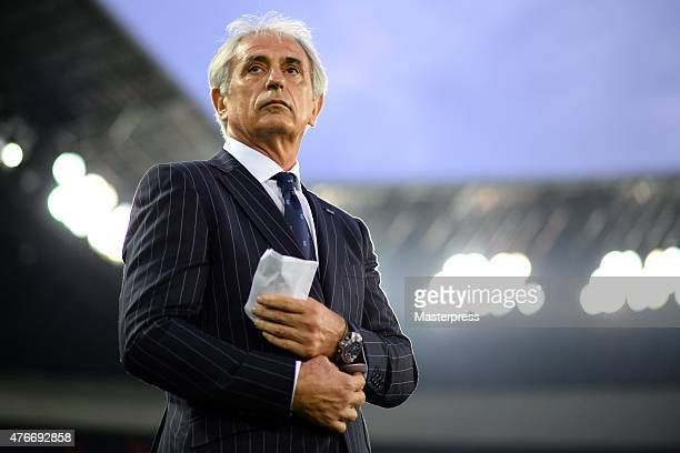 Manager Vahid Halilhodzic of Japan looks on during the international friendly match between Japan and Iraq at Nissan Stadium on June 11 2015 in...