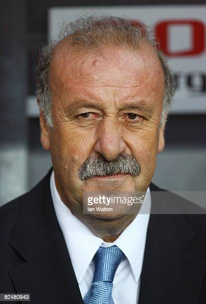 Manager Vicente Del Bosque of Spain looks on during the International Friendly match between Denmark and Spain on August 20 2008 at the Parken...