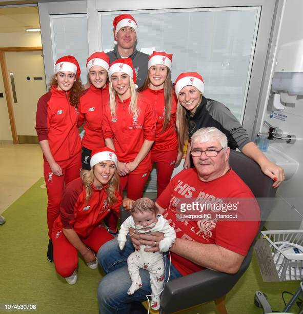 Manager Vicky Jepson and goalkeeping coach Chris Kirkland of Liverpool FC Women visiting patients with their players at Alder Hey Children's Hospital...