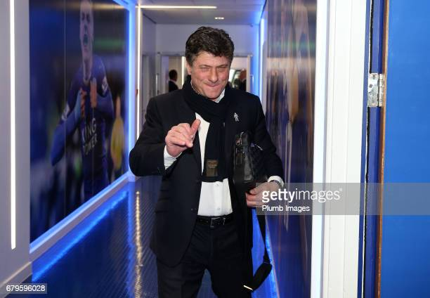 Manager Walter Mazzarri of Watford arrives at King Power Stadium ahead of the Premier League match between Leicester City and Watford at King Power...