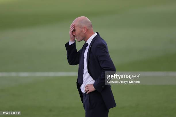 Manager Zinedine Zidane of Real Madrid CF reacts during the Liga match between Real Madrid CF and SD Eibar SAD at Estadio Alfredo Di Stefano on June...