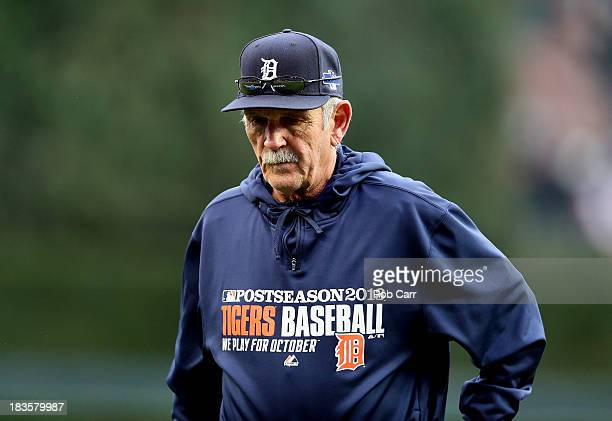 ManagerJim Leyland of the Detroit Tigers walks back to the dugout after a pitching change in the eighth inning against the Oakland Athletics during...