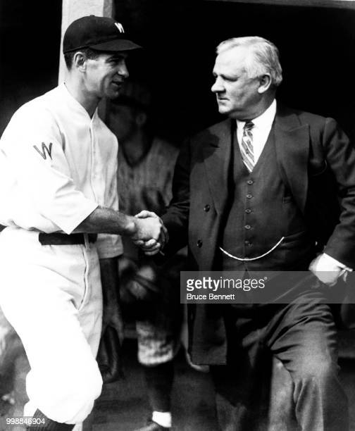Manager/player Bucky Harris of the Washington Senators and manager John McGraw of the New York Giants shake hands prior to Game 1 of the 1924 World...