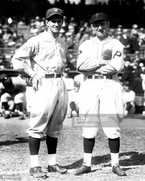 Manager/player Bucky Harris of the Washington Senators and manager Bill McKechnie of the Pittsburgh Pirates pose for a portrait prior to Game 1 of...