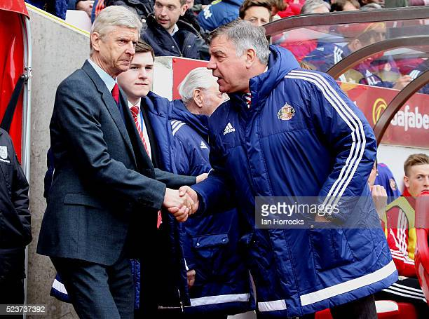 Managers Arsene Wenger of Arsenal and Sam Allardyce of Sunderland shake hands during the Barclays Premier League match between Sunderland and Arsenal...