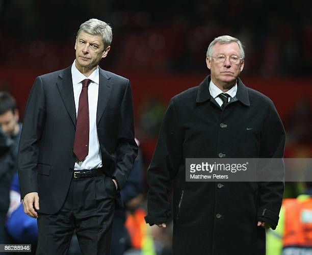 Managers Arsene Wenger of Arsenal and Sir Alex Ferguson of Manchester United walk off at the final whistle of the UEFA Champions League SemiFinal...