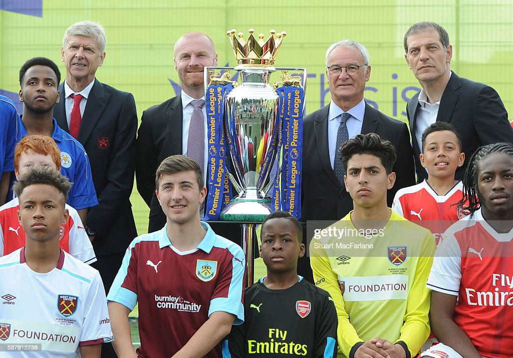 Managers (L-R) Arsene Wenger of Arsenal, Sean Dyche of Burnley, Claudio Ranieri of Leicester City and Slaven Bilic of West Ham United attend the Premier League Season Launch on August 10, 2016 in Islington, England.