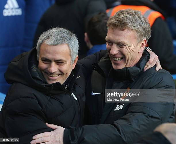 Managers David Moyes of Manchester United and Jose Mourinho of Chelsea greet ahead of the Barclays Premier League match between Chelsea and...
