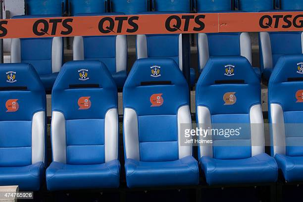 Managers dugout at the Scottish premiership match between Kilmarnock and Ross County at Rugby Park on May 23 2015 in Kilmarnock Scotland