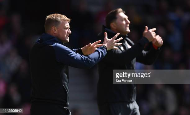 Managers Eddie Howe and Ralph Hasenhuettl, Manager of Southampton react on the touchline during the Premier League match between Southampton FC and...