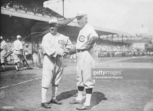CINCINNATI OCTOBER 1 1919 Managers Kid Gleason of the Chicago White Sox left and Pat Moran of the Cincinnati Reds meet before game one of the 1919...