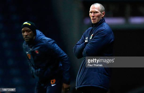 Managers Michael Appleton of Blackburn and Chris Powell of Charlton on the touchline during the npower Championship match between Blackburn Rovers...