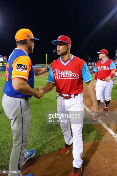 Managers Mickey Callaway of the New York Mets and Gabe Kapler of the Philadelphia Phillies shake hands after the 2018 Little League Classic at...