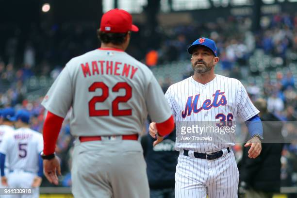 Managers Mike Matheny of the St Louis Cardinals and Mickey Callaway of the New York Mets shake hands during during player introductions prior to the...