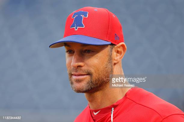 Managert Gabe Kapler of the Philadelphia Phillies looks on prior to the Grapefruit League spring training game against the New York Yankees at...