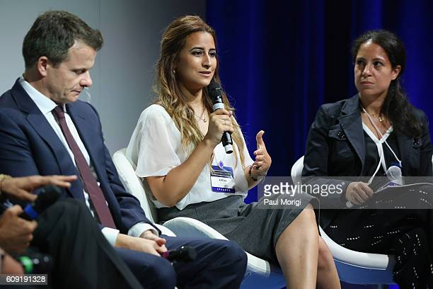 Managing Director Abraaj Group Frederic Sicre Founder CEO Helm Foundation Amena ElSaie and CoFounder and President RISE Egypt Mona Mowafi speak at...
