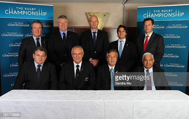 ARU Managing Director and CEO John O'Neill NZ Rugby Union CEO Steve Tew SANZAR CEO Greg Peters UAR representative Agustin Pichot and SARU CEO Jurie...