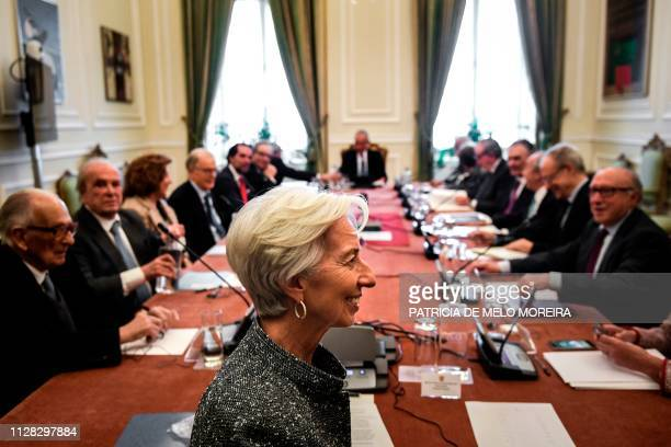 Managing director and chairwoman of the International Monetary Fund Christine Lagarde takes part in the Portuguese State Council at Belem Palace in...