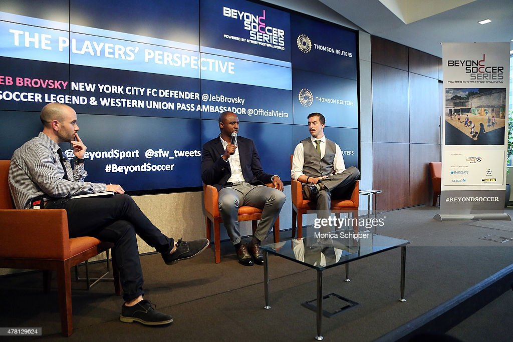 Managing Director at streetfootballworld USA and panel moderator Mike Geddes, former professional football player and Western Union Pass Ambassador Patrick Vieira, and professional football player with New York City FC Jeb Brovsky, speak at the Beyond Soccer Series Powered By streetfootballworld at Thomson Reuters Building on June 22, 2015 in New York City.
