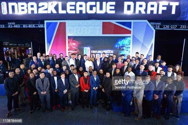 Managing Director Brendan Donohue poses for a group photo with the 2019 NBA 2K League draft class before the draft on March 5 2019 in Brooklyn New...