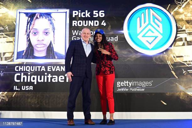 Managing Director Brendan Donohue poses for a photo with chiquitae126 after she is drafted in the fourth round by Warriors Gaming Squad during the...