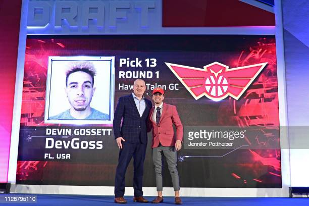 Managing Director Brendan Donohue poses for a photo with DevGoss after he is drafted number thirteen overall by Hawks Talon Gaming Club during the...