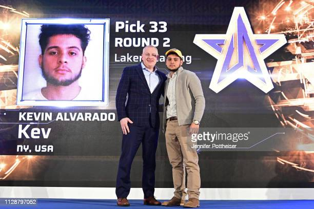 Managing Director Brendan Donohue poses for a photo with Kev after he is drafted in the second round by Lakers Gaming during the NBA 2K League draft...