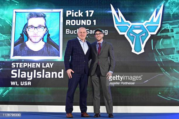 Managing Director Brendan Donohue poses for a photo with SlayIsland after he is drafted number seventeen overall by Bucks Gaming during the NBA 2K...